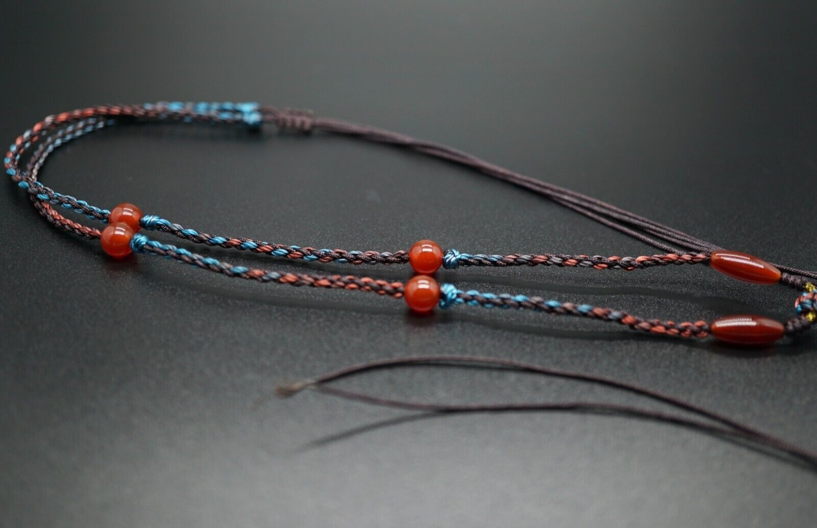 Handmade Colorful Cord Necklace Mixed Cord With Carnelian Beads Jewelry Diy  - $25.00