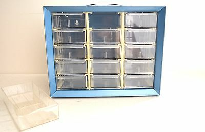 Vintage Akro-mils Tool Box Storage Cabinet 15 Drawers Metal - Made In U.s.a.
