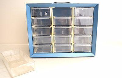 Vintage Akro-mils Tool Box Storage Cabinet 15 Drawers Metal - Made In U.s.a.