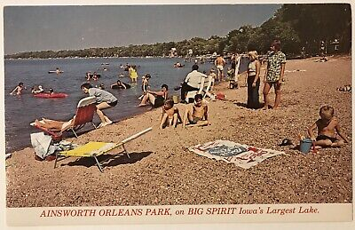 Ainsworth Orleans Big Spirit Lake Iowa IA Postcard Pabst Blue Ribbon PBR Towel