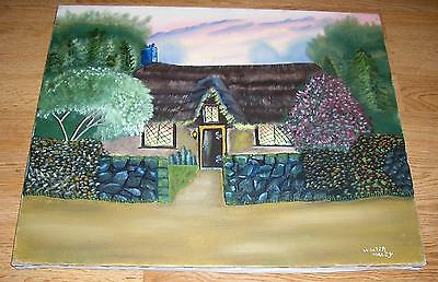 FOLK ART SUMMER SPRING THATCHED ROOF COTTAGE HOUSE GARDEN SUNSET OIL PAINTING