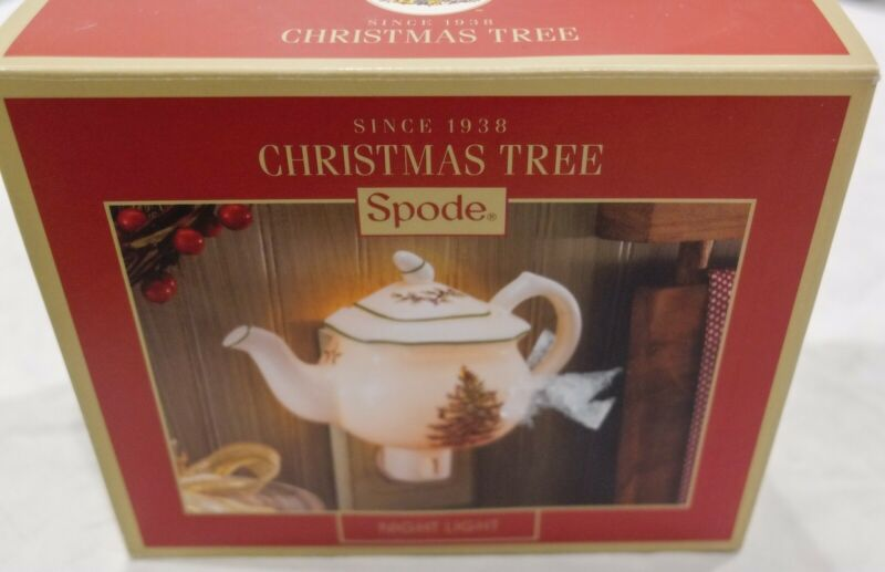 Spode Christmas Tree Plug In Night Light Porcelain Tea Pot - New