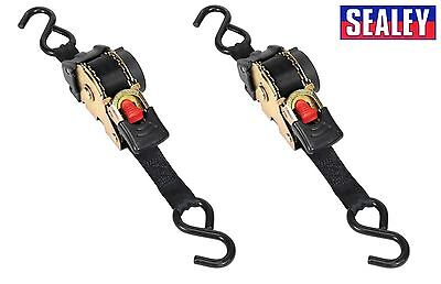 2 x Sealey Auto Retract Ratchet Tie Down Straps 600kg Capacity 25mmx3m  ATD25301