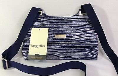 Baggallini NEW!!! CROSSBODY BAGG Daily BLUE NWT Zipper Purse Everyday Slim (Bagg Cross Body Purse)