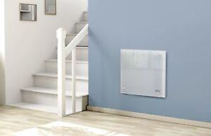 1000W Electric Slimline Glass Panel Heater Radiator Wall Mounted Netta White