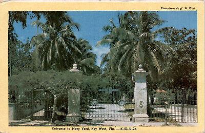 Entrance to Navy Yard, Key West Florida, Gates K-23-D-24 Postcard F22