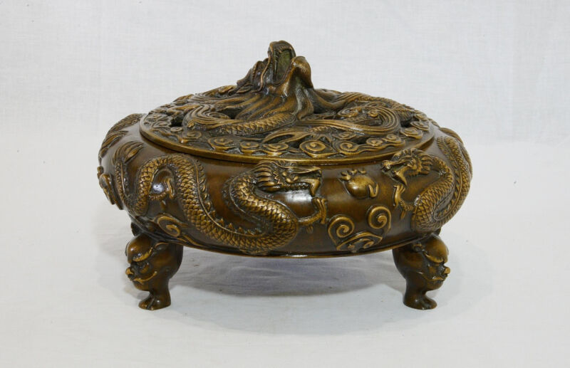 Large Chinese Bronze Tripod Incense Burner With Mark