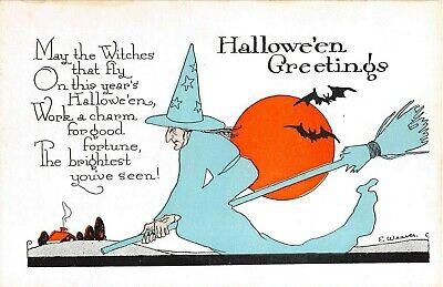 c.1920? Witch On Broom & Full Moon Halloween post card sgd. E. Weaver