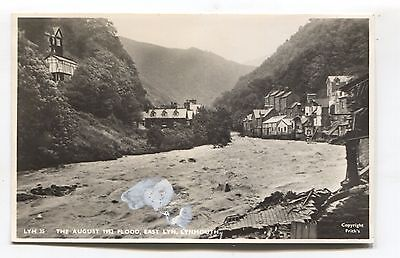 Lynmouth, 1952 - East Lyn Flood disaster - old Devon real photo postcard