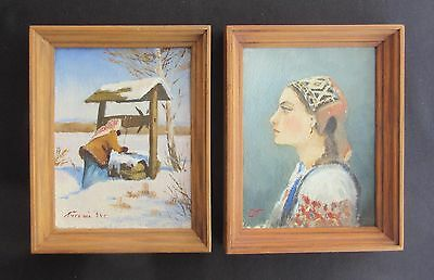 Pair of Original Ukranian Oil Paintings on Board Signed by the Same Artist