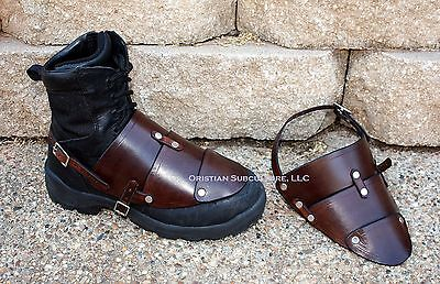 Leather Boot Covers foot feet SCA LARP armour ren Sabatons Renaissance knight - Leather Boot Covers