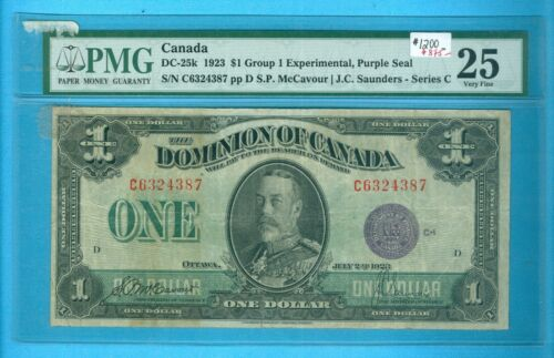 CAN-Note: Dollar 1923 purple seal; DC-25k Group 1 Experimental,PMG-25