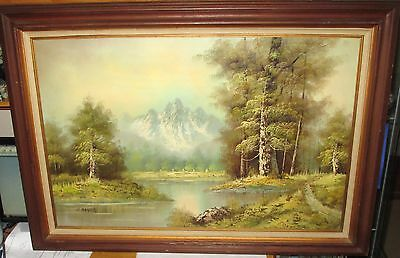 H.BAUER SNOW MOUNTAIN WILDERNESS LAKE OIL PAINTING on Rummage