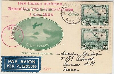 BELGIUM 1933 official illustrated card *BRUXELLES-CANNES*