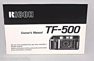 Ricoh Camera Owner's Manual for TF-500 1987 HTF Rare Good Condition 33 pages