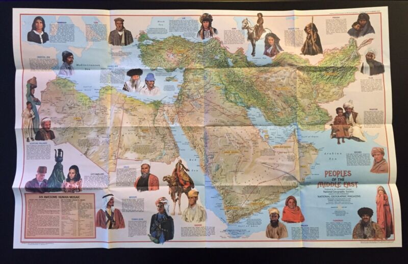 Vintage 1972 National Geographic Society Map of Peoples of the Middle East