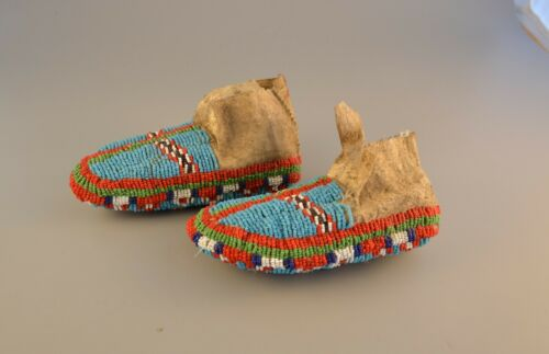 19th century Beaded Ceremonial Plains Indian Native American Moccasins - Childs
