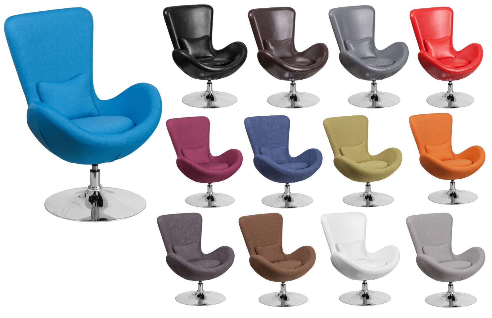 Leather or Fabric Contemporary Swivel Egg Chair with Chrome