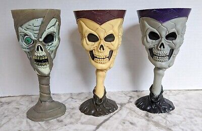 Halloween Plastic Wine Goblets (Set of 3 Skeleton Skull Plastic Wine Goblet Halloween Cup Easter Unlimited)