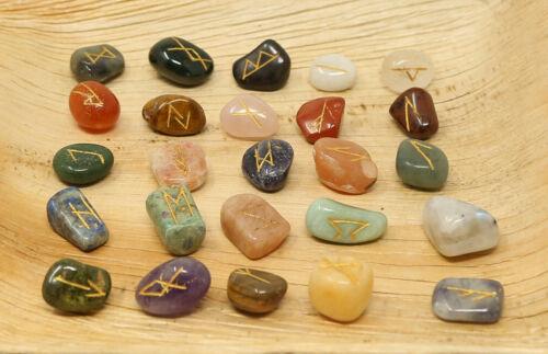 Reiki Tumble Stones Multi-Stone Therapy Natural Rune Set Healing 25 Pc