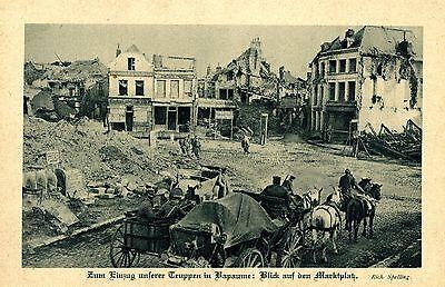 Einzug unserer Truppen in Bapaume.Blick auf Marktplatz. Bilddokument von 1919