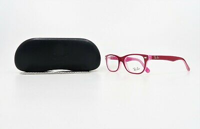 Ray-Ban Jr Unisex Rectangular Shiny Hot Pink Glasses w/ Case RB 1555 3761 (Hot Pink Glasses)