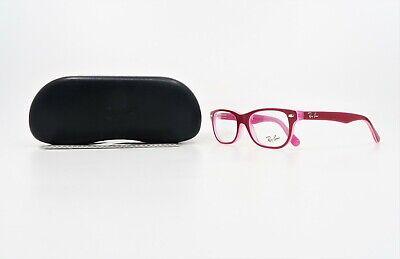 Ray-Ban Jr Unisex Rectangular Shiny Hot Pink Glasses w/ Case RB 1555 3761 (Hot Pink Ray Bans)