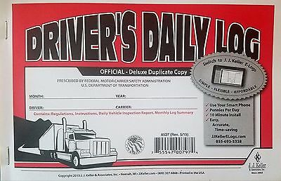 20-PACK JJ Keller Driver's Daily Log Book 8527/601L W/DVIR & MONTHLY LOG SUMMARY