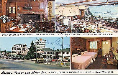 Lamies Tavern   Motor Inn  Hampton  New Hampshire  Vintage Postcard  Tr