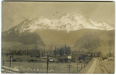 1907 Snow Covered Mt  Shasta  Town Of Sisson California Rppc Real Photo Postcard