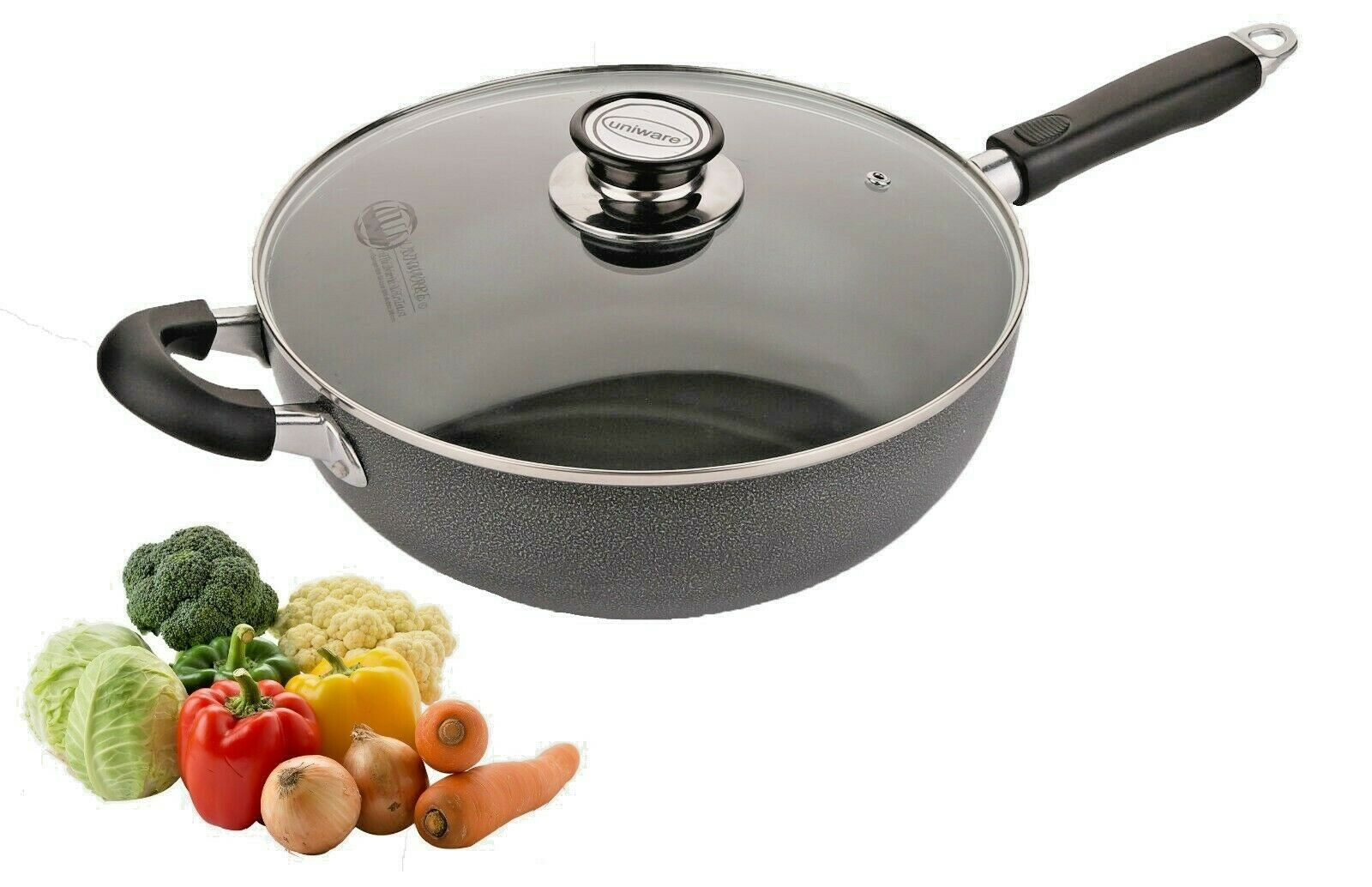 Non Stick Wok Pan With Vented Glass Lid 5.5 Quarts, Black