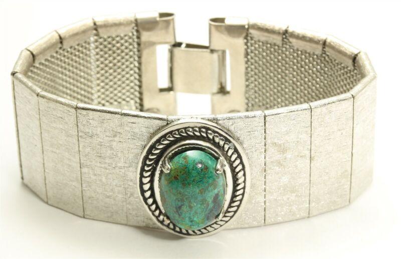 Vintage Silver Tone Modernist Genuine Chrysocolla Cabochon Wide Chain Bracelet