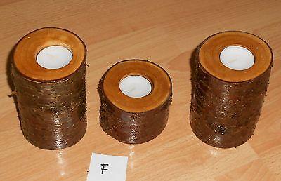 3 x Teelichthalter aus Birke Birkenholz Kerzenständer Kerzenleuchter Teelicht