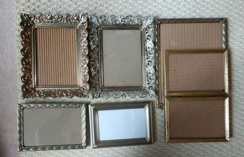 Group Of Vintage Metal Picture Frames 4/6 To 8/10 all with glass