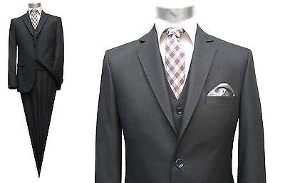 Herren Anzug mit Weste Gr.60 Dunkelgrau