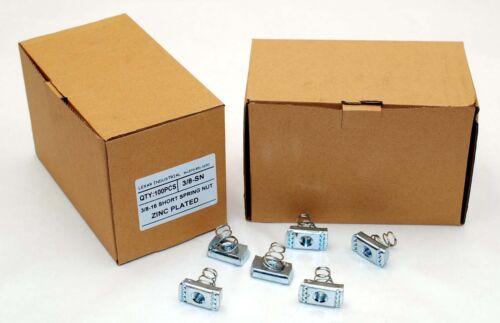 (100) Strut Channel Nuts 3/8-16 Short Spring Zinc Plated Unistrut Nut