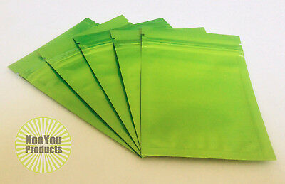 25 Neon Lime Green 3.5x5 Aluminumfoil Pouches Mylar Ziplock Heat Seal Bags