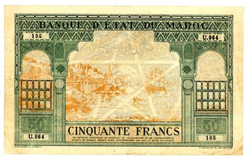 Morocco ... P-40 ... 50 Francs ... 1924 ... *Ch.F-VF*