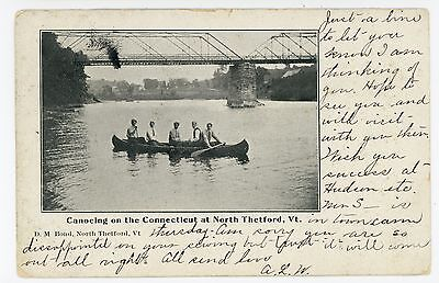 Canoeing on the Connecticut River NORTH THETFORD VT Rare Old Lyme UDB 1907