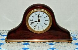 Danbury Desk/Shelf Clock, Mahogany with Brass Color Bezel and Base