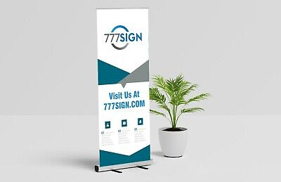 Trade Show Double Foot Aluminum 33x81 Retractable Banner Stand With Graphic
