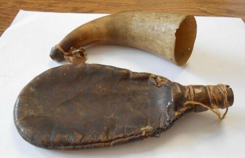 Rare Pre Revolutionary War Powder Horn & Leather Shot Bag