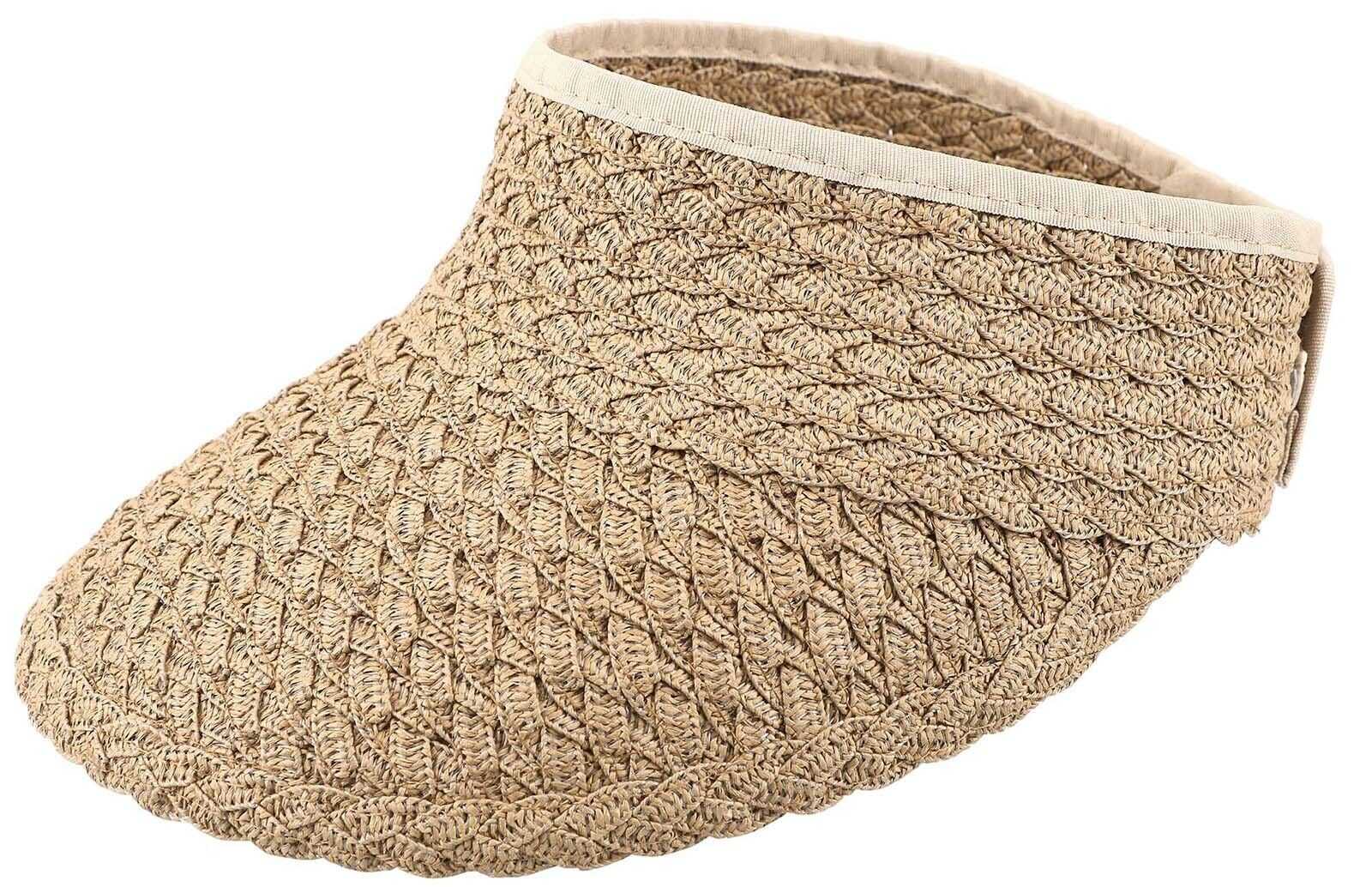 Womens Adjustable Summer Straw Sun Visors Foldable Beach Hat