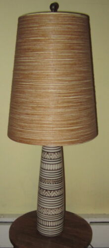 Vintage LOTTE BOSTLUND Tall Ceramic Table Lamp with Original Shade (will ship)