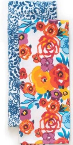 Pioneer Woman Flea Market Floral Blue Traveling Vines Kitchen / Hand Towels TWO