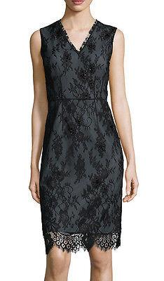 ELIE TAHARI 'Ashley'~ Black Beaded Chantilly Lace V-Neck Party Dress 6 NEW $498