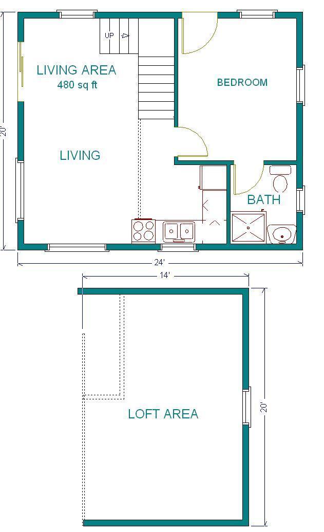 Cabin plans 20x24 w loft plan package blueprints for W loft