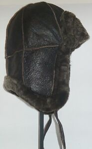 NEW-mens-womens-Sheepskin-Bomber-Aviator-Hat-Real-Leather-winter-size-S