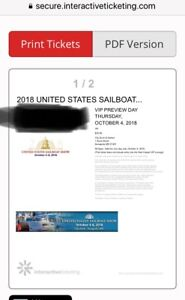 2018 US Annapolis Sailboat VIP tickets