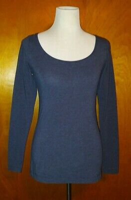 H&M Womens Medium Navy Blue Scoop Neck Long Sleeve  Long T-Shirt Top